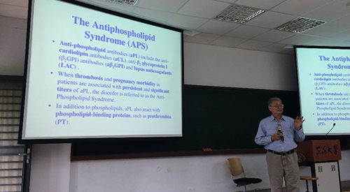 Autoimmunity expert Po-Jen Chen delivered a speech in the Department of Life Science