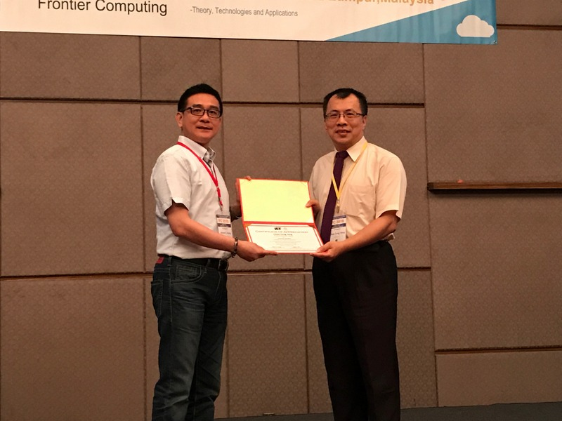 Prof. Yang received the certificate from General Chair of FC 2018.