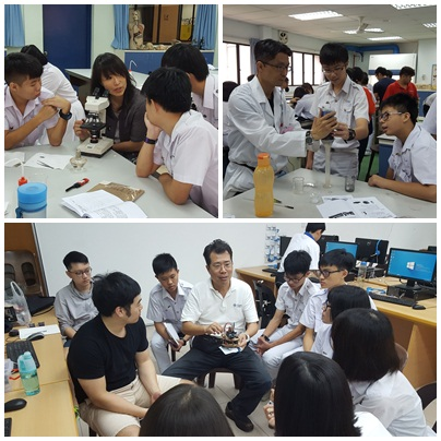 Upper left: Chairman Ming-Li Hsieh of the Department of Life Science explaining  the condition of microorganism samplings under the microscope. Upper Right: Assistant Joie Yang of the Department of Chemistry  instructing students about the process of water purification. Bottom: Chairman Ching-Tsorng Tsai and assistant of the Department of  Computer Science elaborating on the design theory of Arduino