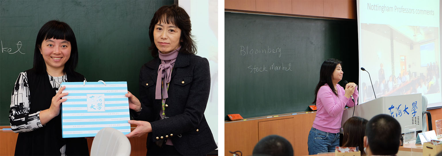 Left: Director Chih-Yun Wu (L) and Ms. Nobata Tomomi (R) exchanged presents.  Right: Dr. Wendy Wan introduced related courses and engaged with the audiences.