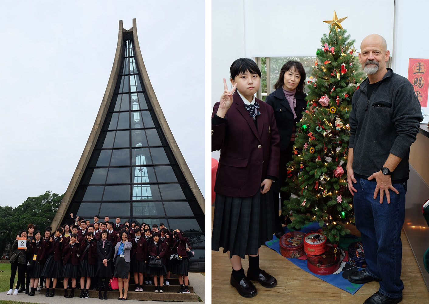 Left: Group picture of the visiting group from Toyama Shogyo High School  Right: Director James Sims welcomed the visitors in the International College office