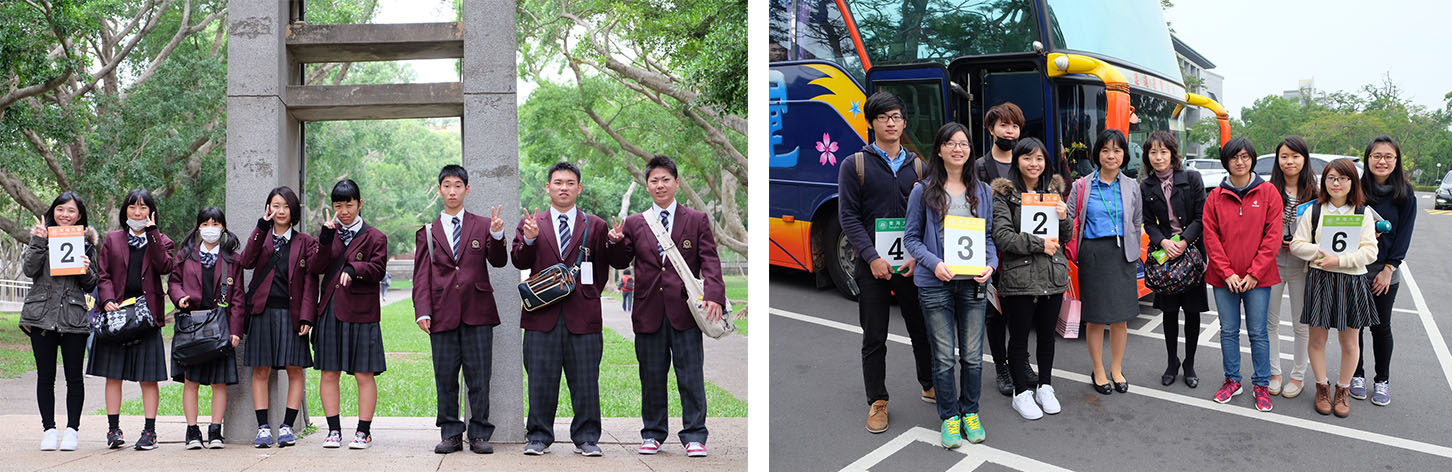 Left: Toyama Shogyo High School on a campus tour  Right: Toyama Shogyo High School thanked Tunghai's welcoming team and took a happy group picture