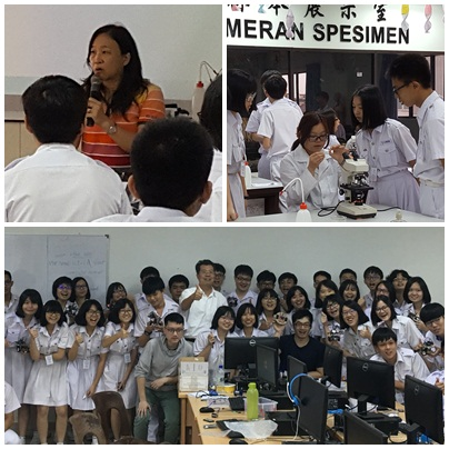 Upper Right: Chairman F.D. Lung of the Department of Chemistry explaining experiment procedures Bottom Left: Assistant Cecilia Hung of the Department of Life Science  instructing students to use microscopes Bottom: Group Picture taken after the Arduino course