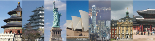 Landmarks of many countries