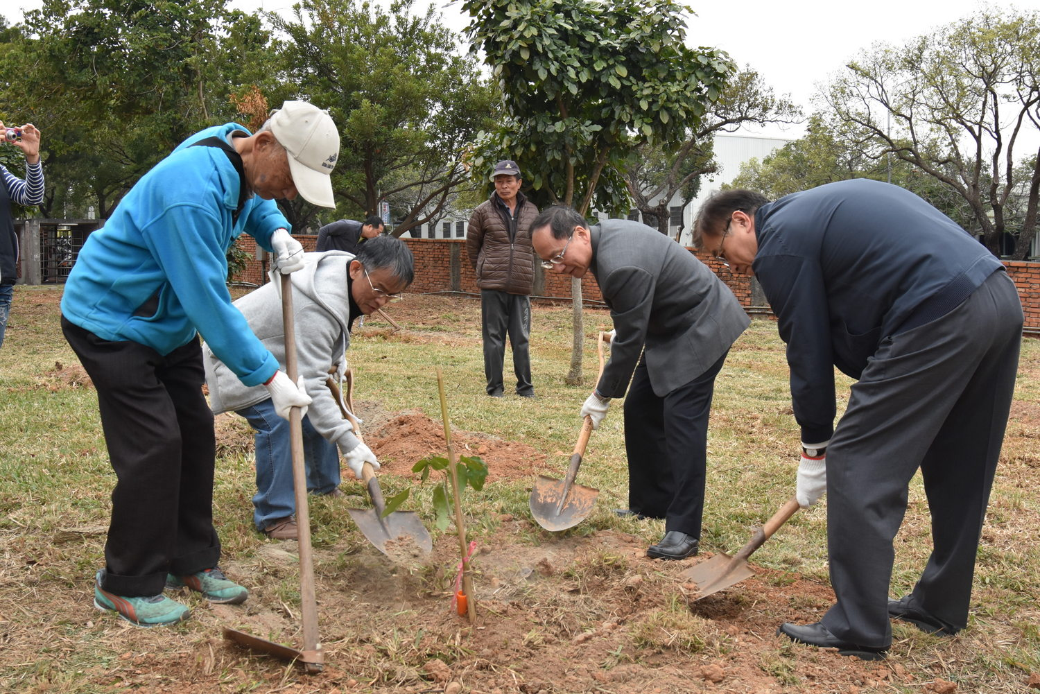 Tunghai President Mao-Jiun Wang led management and staff to plant trees.