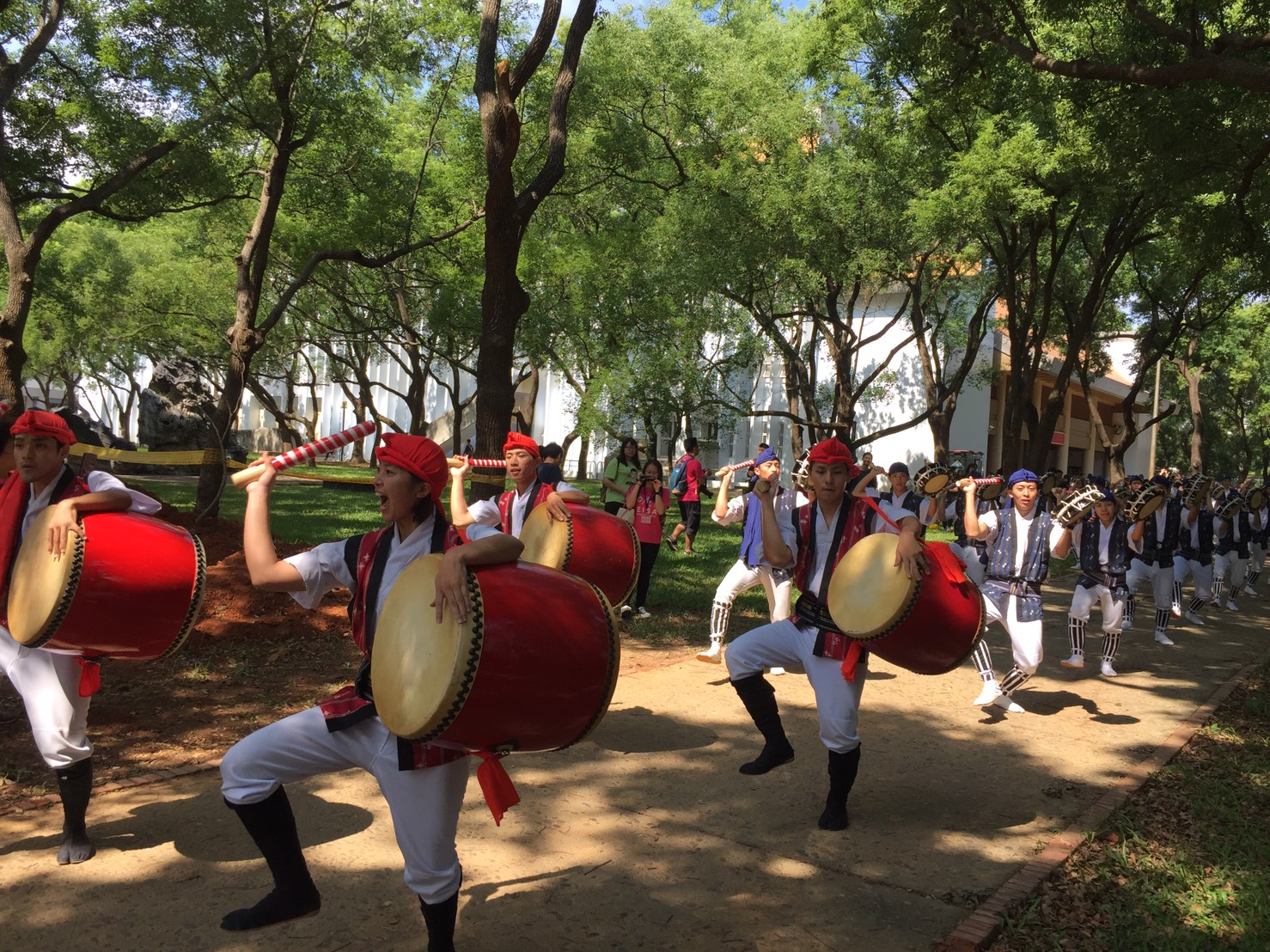 The dance uses Taiko as the main instrument as well as Shamisen, a three-stringed traditional Japanese musical instrument.